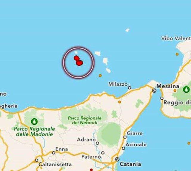 terremoto isole eolie, Due scosse di terremoto al largo delle isole Eolie