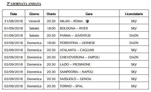 Juve Calendario Partite.Serie A 2019 Ecco Il Calendario Degli Incontri Trasmessi