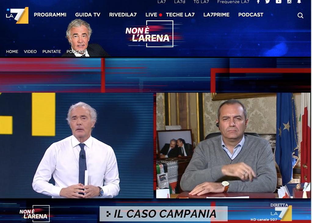 L'unità di crisi della Regione Campania denuncia 'Non è l'Arena' di Giletti